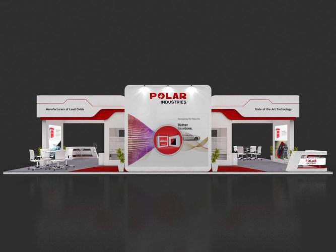 Open Exhibition Stand : White exhibition stand square shape design with open door on black