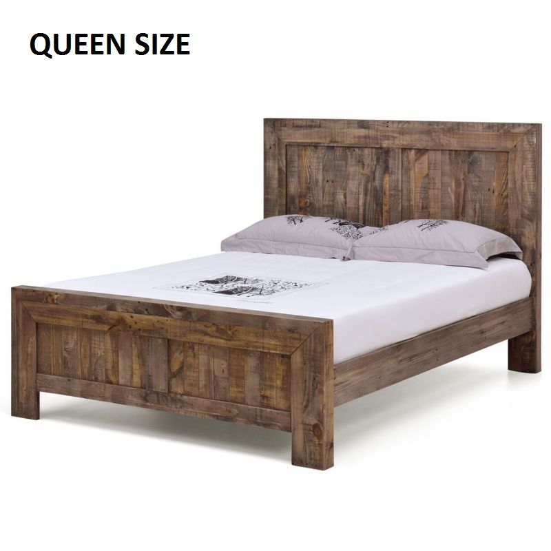 Boston Recycled Solid Pine Rustic Timber Queen Size Bed Frame