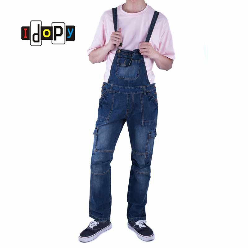 3bd336bfc0f Classic Men Plus Size Denim Bib Overalls Multi Pockets Light Washed Blue  Oversized Jean Jumpsuits For