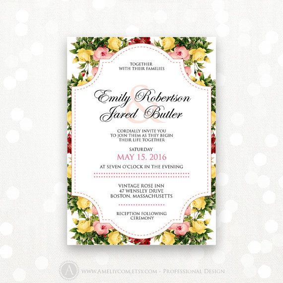 Printable Wedding Invitation Rustic Pink Floral Weddings Invite