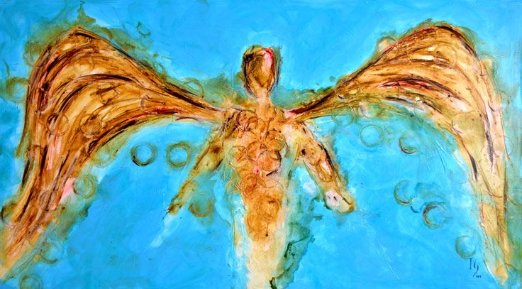 """ANGEL PAINTINGS AND ANGEL ART Title: """"Jehoel"""" The welcoming presence of a powerful golden angel against a signature """"cabo blue"""" back drop bringing the piece to an entirely new level.     Visit our page at http://www.ivanguaderrama.com/             Buy Angel Art Prints   http://fineartamerica.com/profiles/ivan-guaderrama-art-gallery.html"""