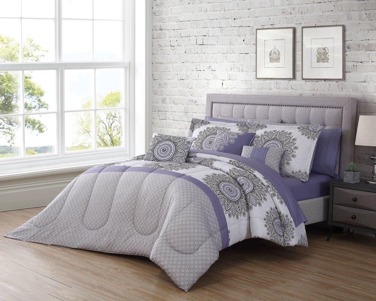 12 piece bali purplegraywhite comforter set in 2020