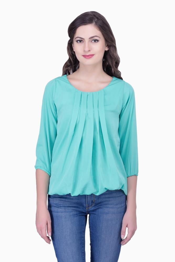 596b2c3554a Buy Green Solid Women Party wear office wear Casual Tops Tunics for Women Online  India, Best Prices
