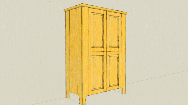 Large preview of 3D Model of Pine Cabinet