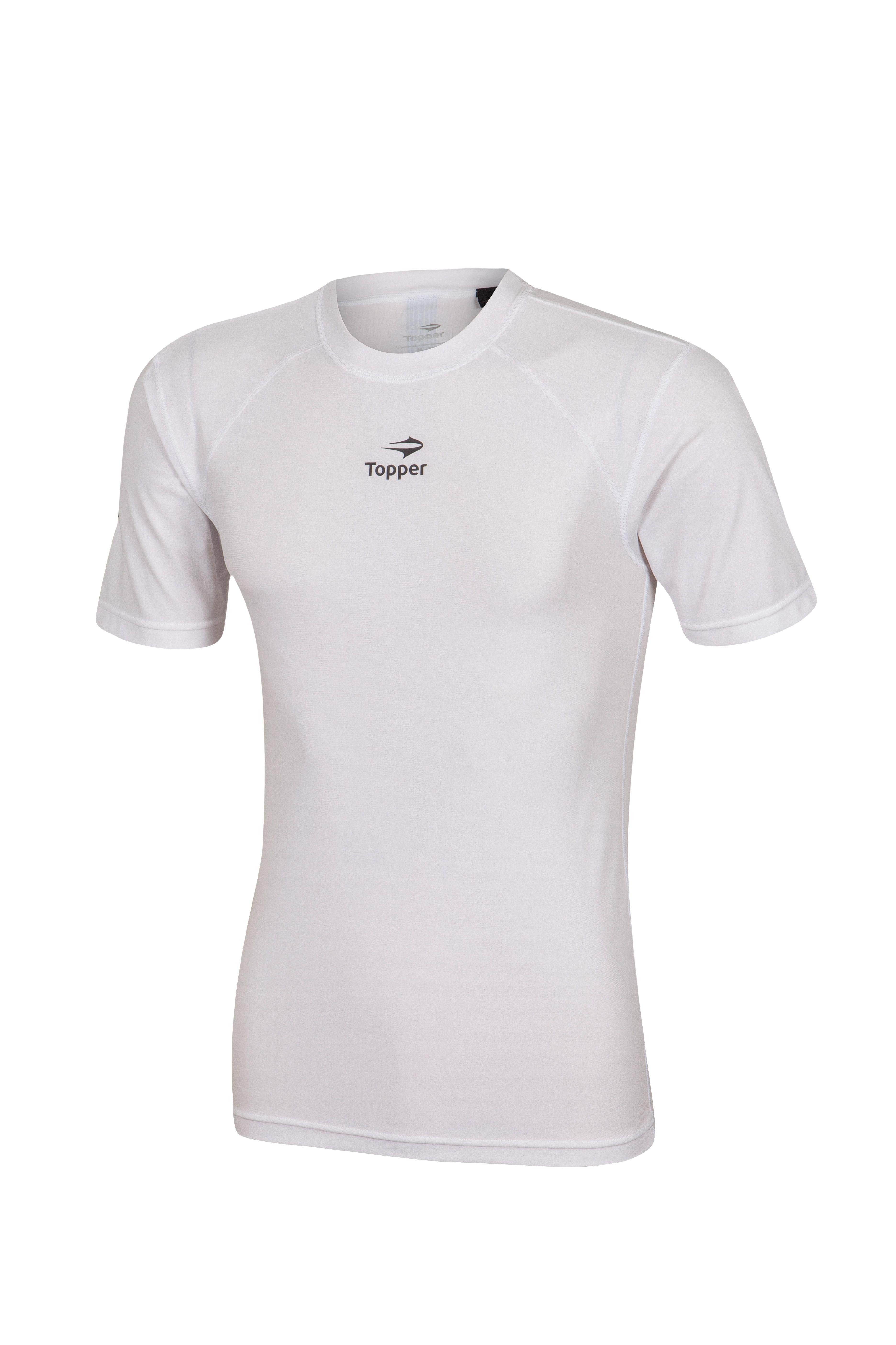 Camisa Topper Futebol Térmica Manga Curta Branca  1741192c9f813