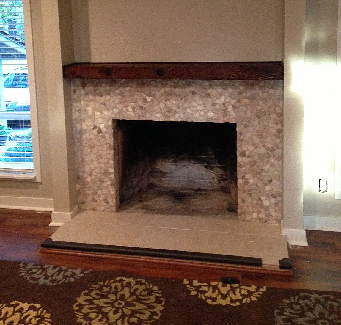 Mixed Quartz Fireplace Surround - Pebble Tile Shop USE DIFFERENT ...