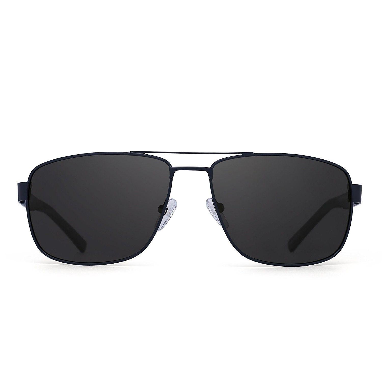 da6f2247f8 Polarized driving aviator sunglasses metal frame square lenses glasses men  women blue polarized grey uget men