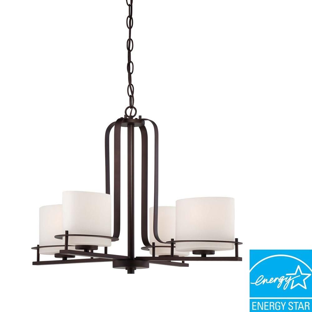 Illumine 4 Light Venetian Bronze Chandelier With Oval Frosted Glass Shade