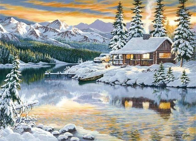 5D DIY Diamond Painting Scenic Diamond Embroidery Winter Snow Full Square Rhinestones Embroidery Home Decor 5d diamond painting christmas