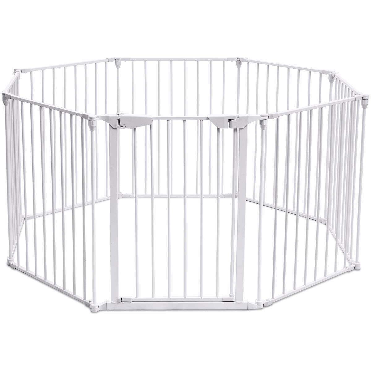 Honey Joy Baby Safety Gate 3in1 Fireplace Fence Wide Barrier Gate With Walkthrough Door In Two Directions Wallm Baby Gate With Door Baby Safety Gate Baby Gates