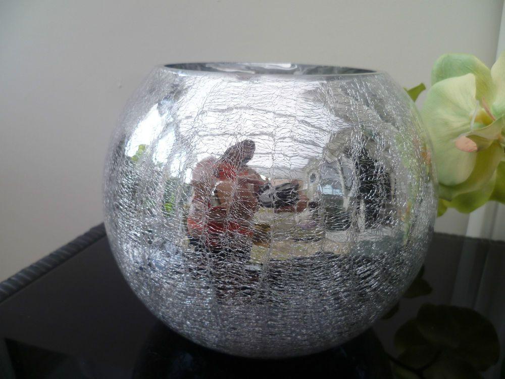 Silver Sparkle Metallic Crackle Glass Fishbowl Fish Bowl Vase