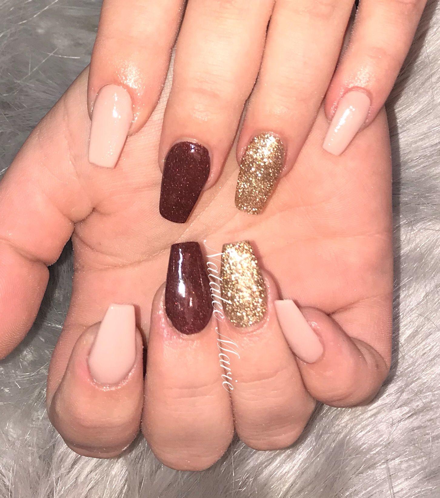 Winter Autumn Nail Colour Burgundy Nails Gold Glitter Nails Nails