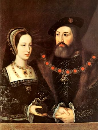 Wedding portrait of the real Mary Tudor and her husband ...