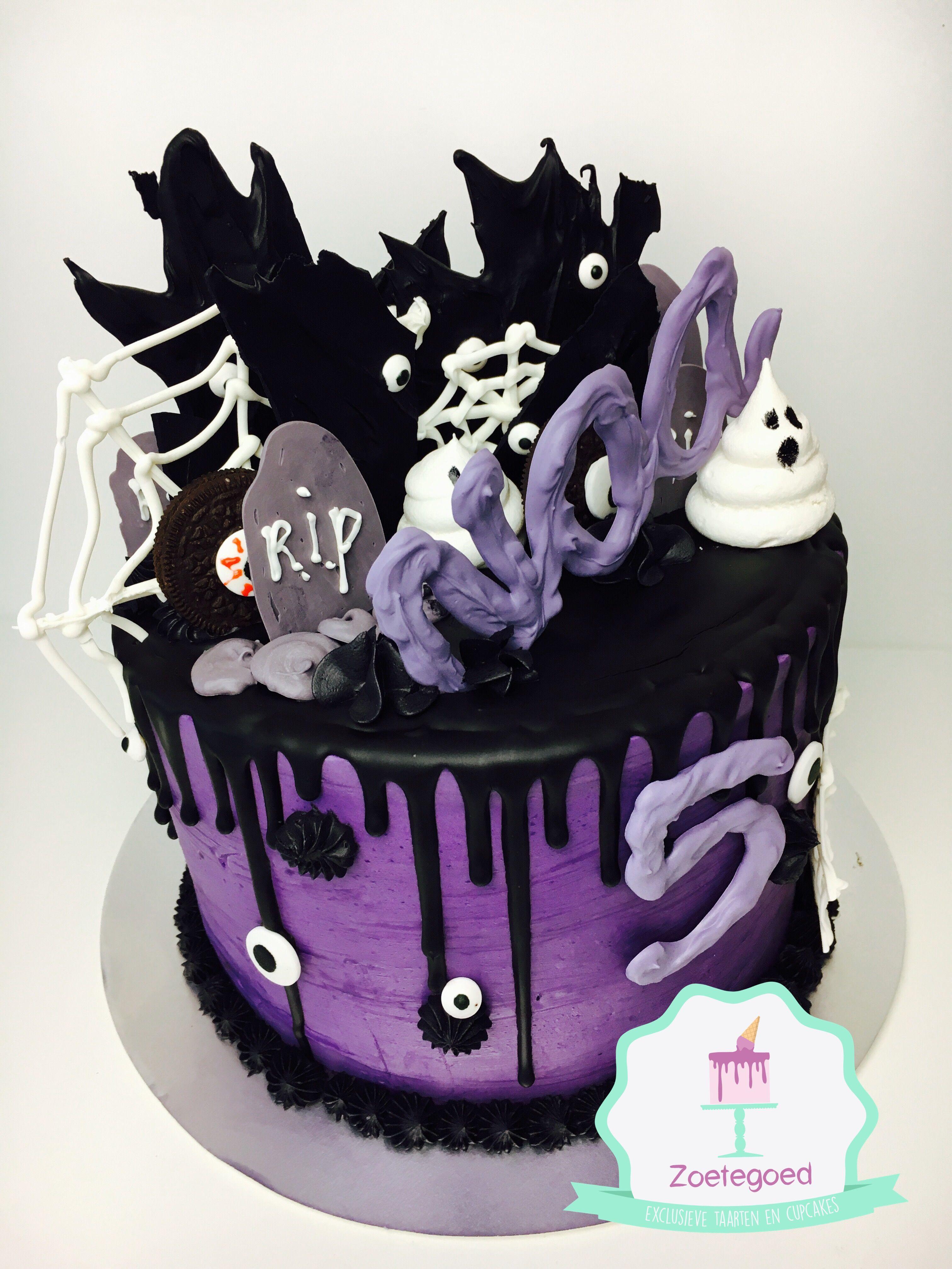 Halloween Black And Purple Drip Cake Zoetegoed Taarten