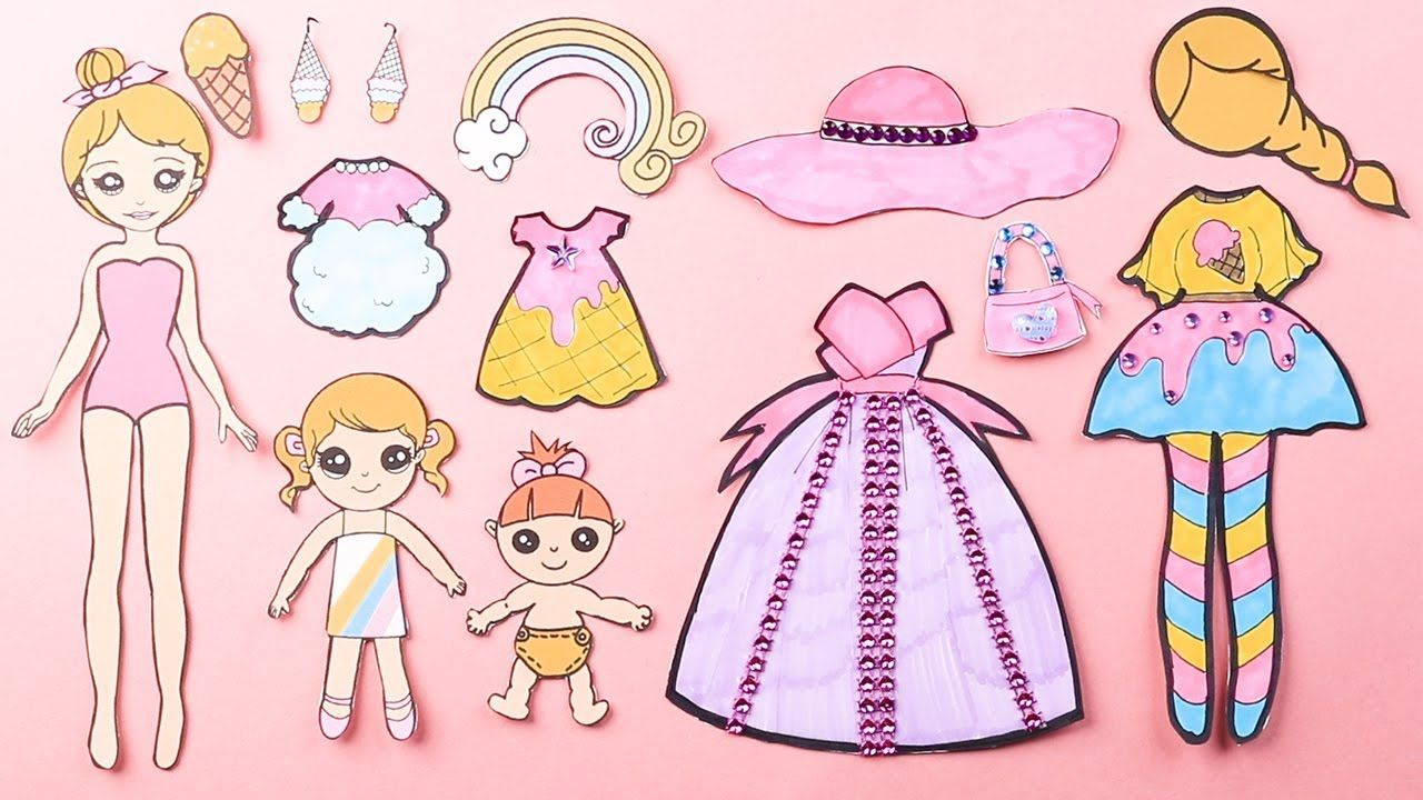 How To Draw A Paper Doll Paper Dolls Dress Up With Ice Cream Castle Am Paper Dolls Paper Doll Dress Frozen Coloring Pages
