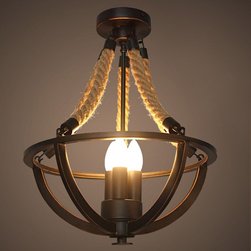 Rustic hemp rope iron basket semi flush mount with 3 candle lights semi flush mount