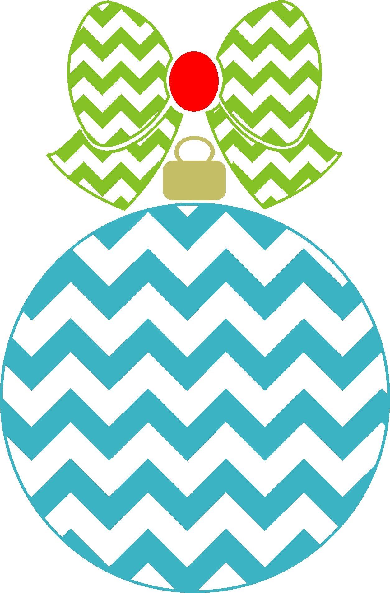 Chevron Ornament with Chevron bow Christmas chevron
