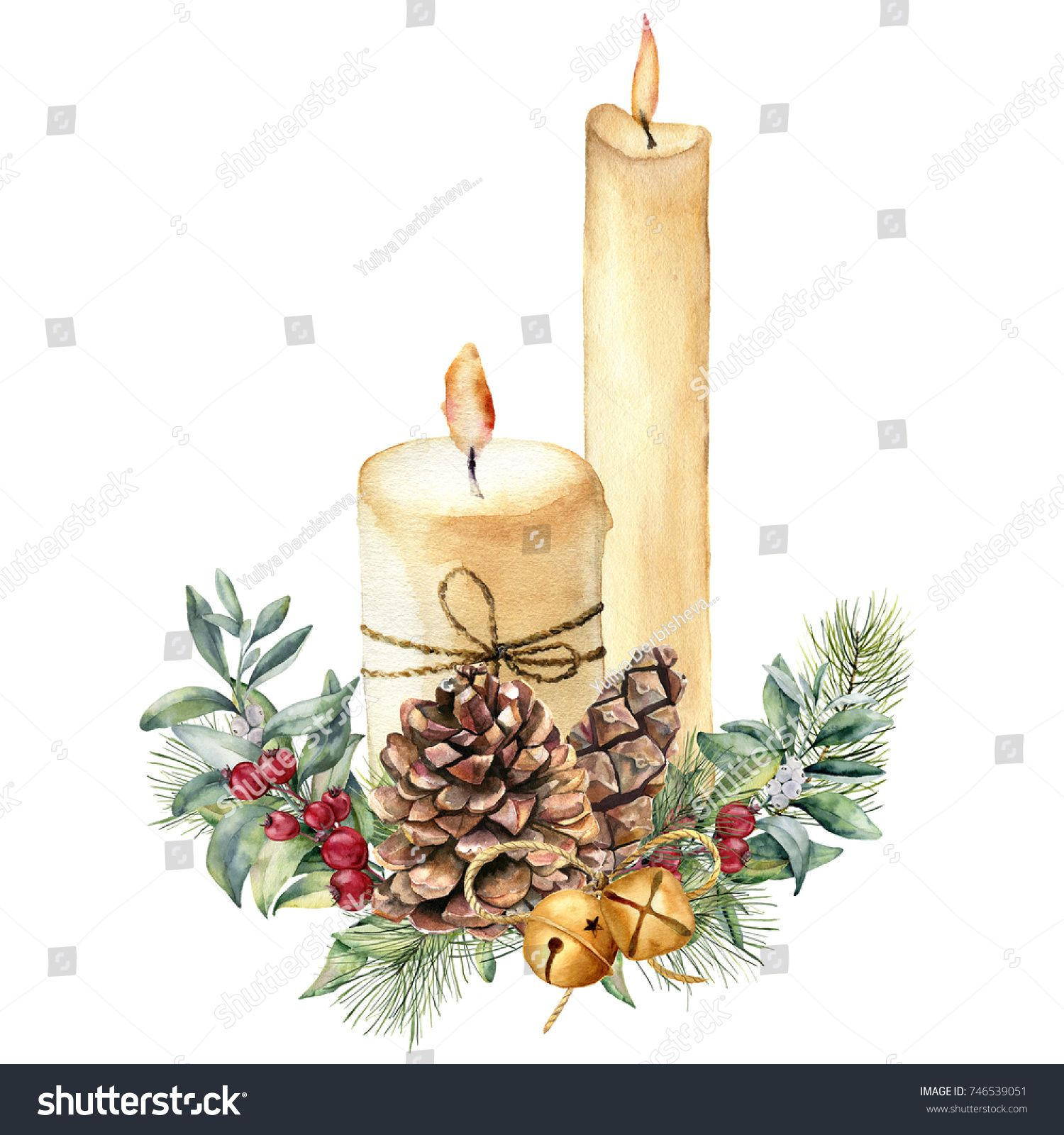 Watercolor Christmas candles with holiday decor. Hand
