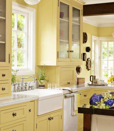 cocina con gabinetes y paredes amarillas | Fabulosos Colores Para ...