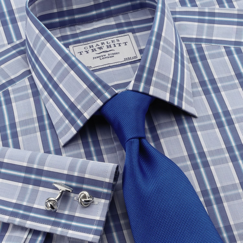 Jermyn St blue and sky check slim fit dress shirt | Slim fit dress shirts from Charles Tyrwhitt | CTShirts.com