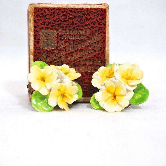 Midcentury Vintage Bone China Porcelain Yellow Flowers Clip On Earrings