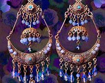 Blue Crystal Bohemian Gypsy Earrings, Indian Jhumka Earrings, Periwinkle Blue, Large Exotic Jewelry, Kerala Earrings, Clip-On Option
