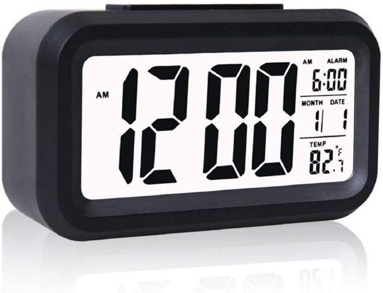 Desk Digital Alarm Clock Sensor Automatic Soft Light Snooze Date Temperature Hot
