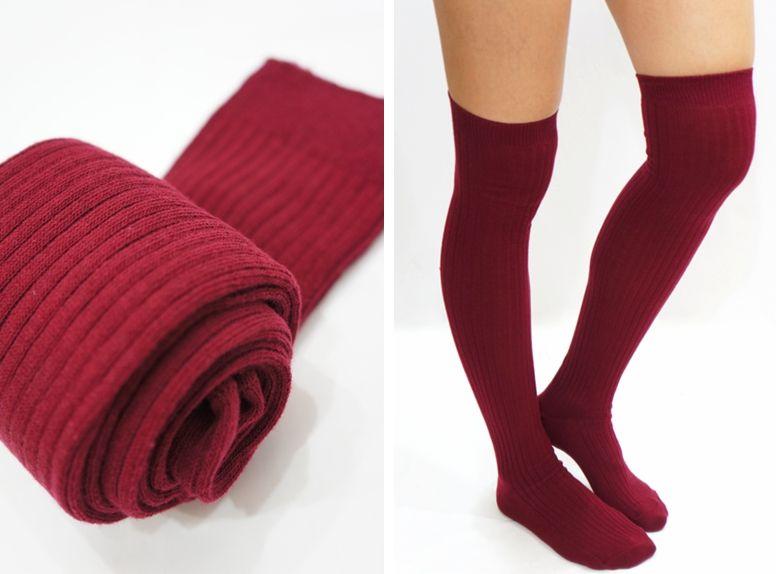 f46390f6701494 Thigh High Socks - Burgundy | socks | Socks, Thigh high socks, Thigh ...