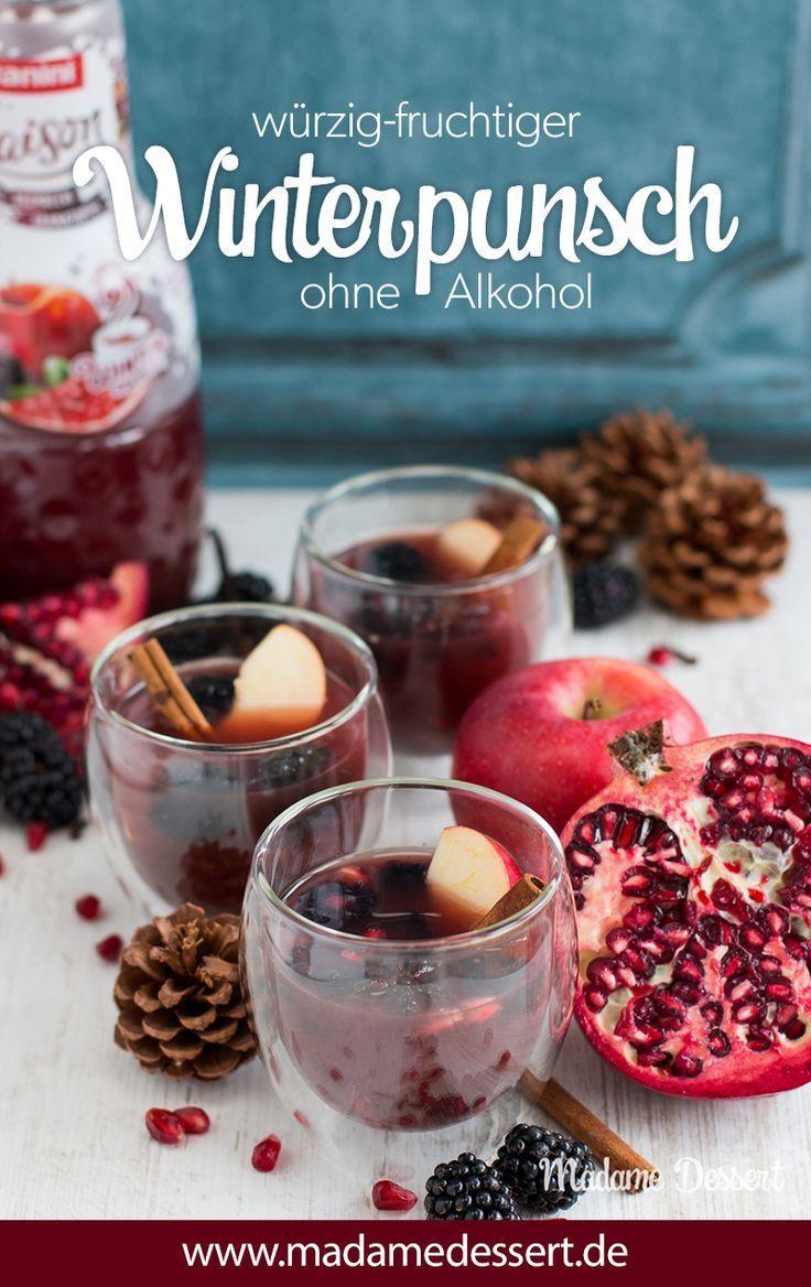 Alkoholfreier Punsch mit Apfel, Brombeere & Granatapfel #alcoholicpartydrinks