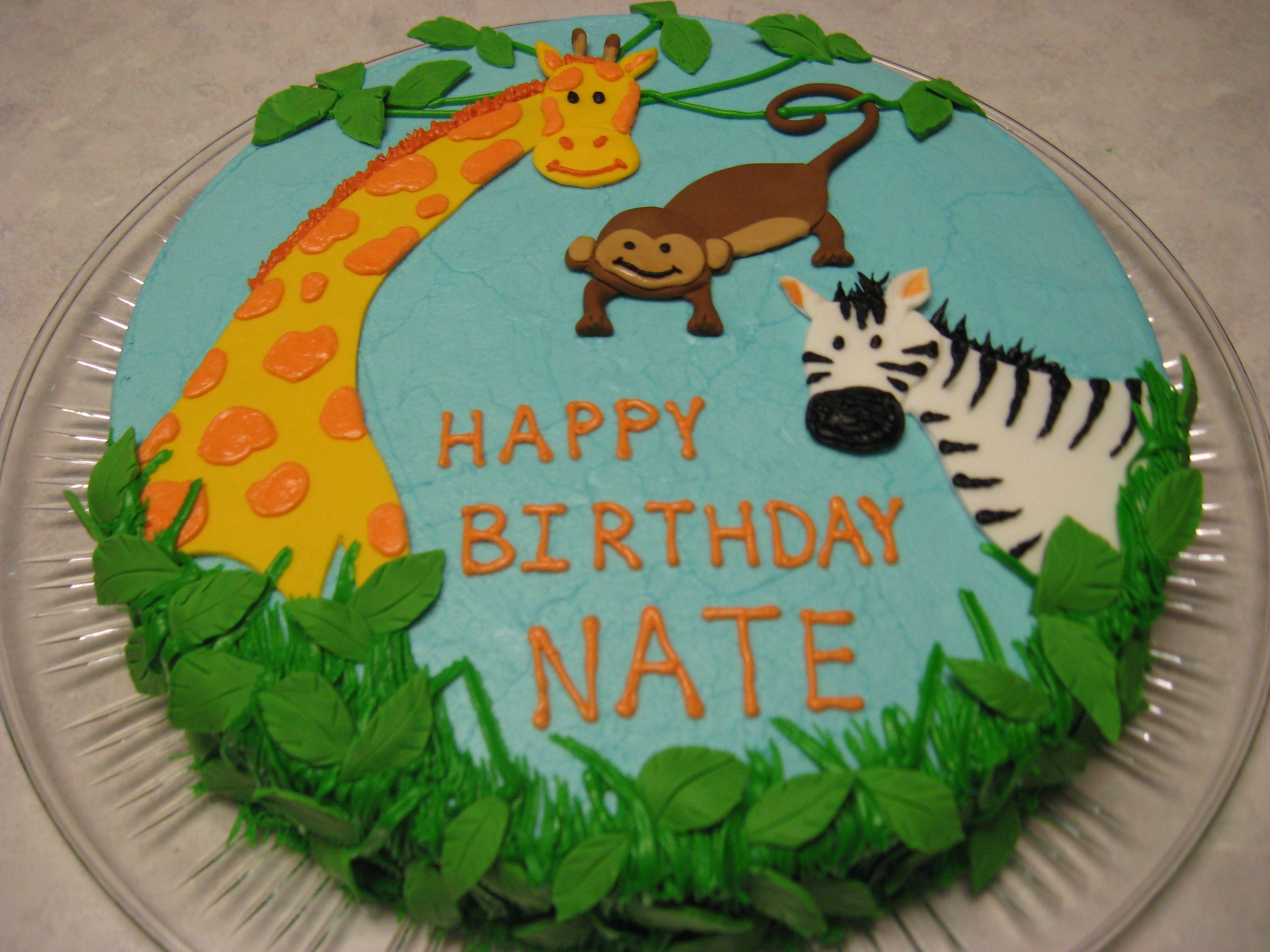 Jungle Animals Birthday Cake