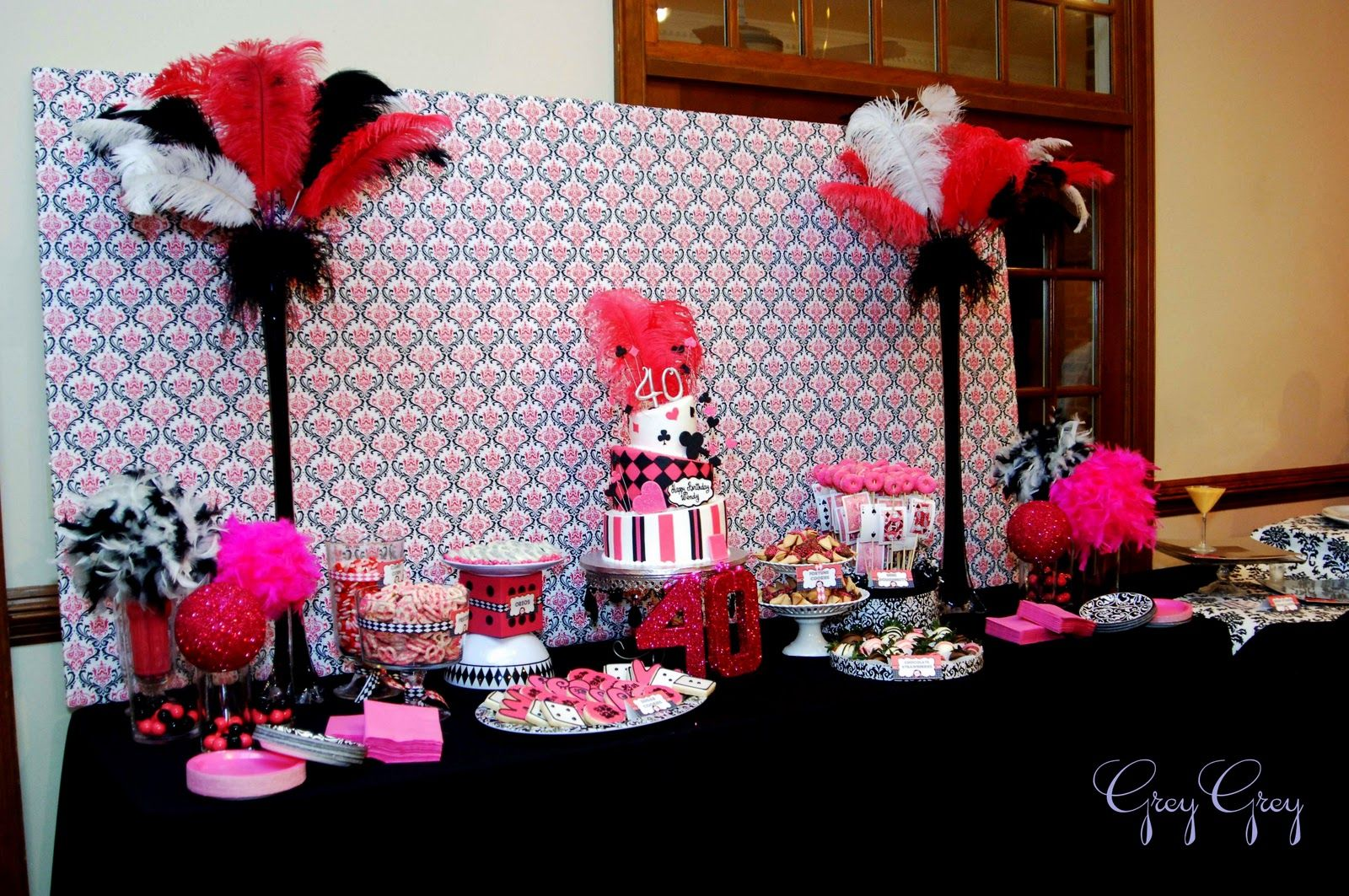 40th Birthday Decorations For Her Greygrey Designs My Parties Hot Pink Glamorous Casino 40th