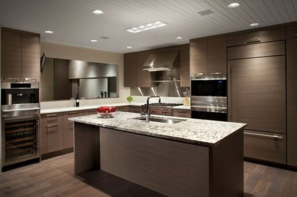 Kücheninsel mit Granitarbeitsplatten moderne Küche cocinas - küchen granit arbeitsplatten