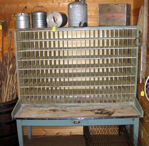 Antique Postal Furniture - Large Post Office Desk and Sorter Top -  Authentic Vintage Blue Patina - Antique Postal Furniture - Large Post Office Desk And Sorter Top