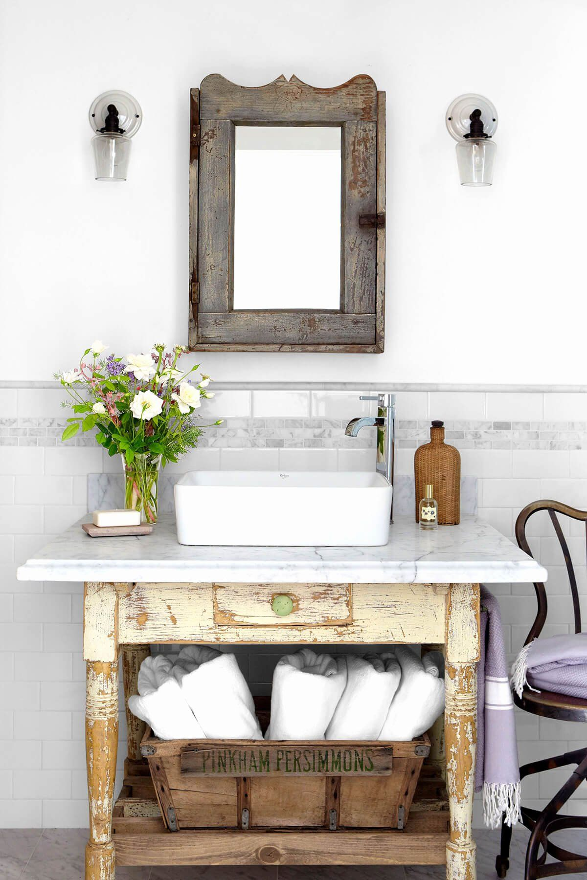 Small Bathroom Table Ideas Awesome Light Wood Distressed Small Bathroom Toilet Table Ho In 2020 Rustic Bathroom Vanities Small Bathroom Furniture Bathroom Wall Decor
