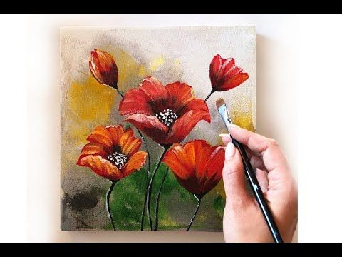 How To Paint A Flowers On Canvas Demo Acrylic Technique On