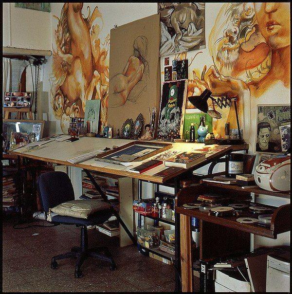 home office pinterest atelier artistes et d co maison. Black Bedroom Furniture Sets. Home Design Ideas