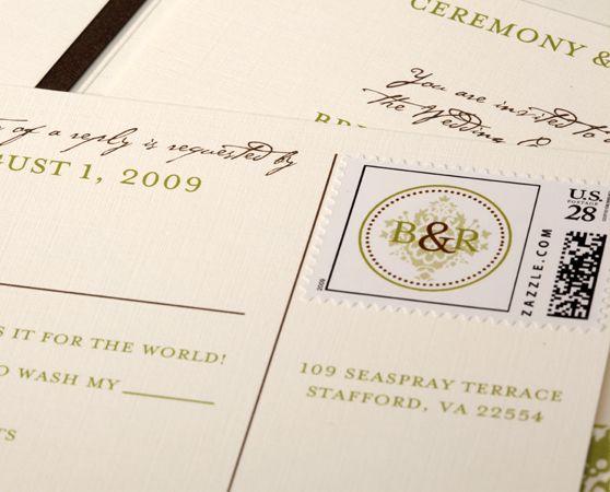 Custom Stamp Response Card Etiquette Postcard