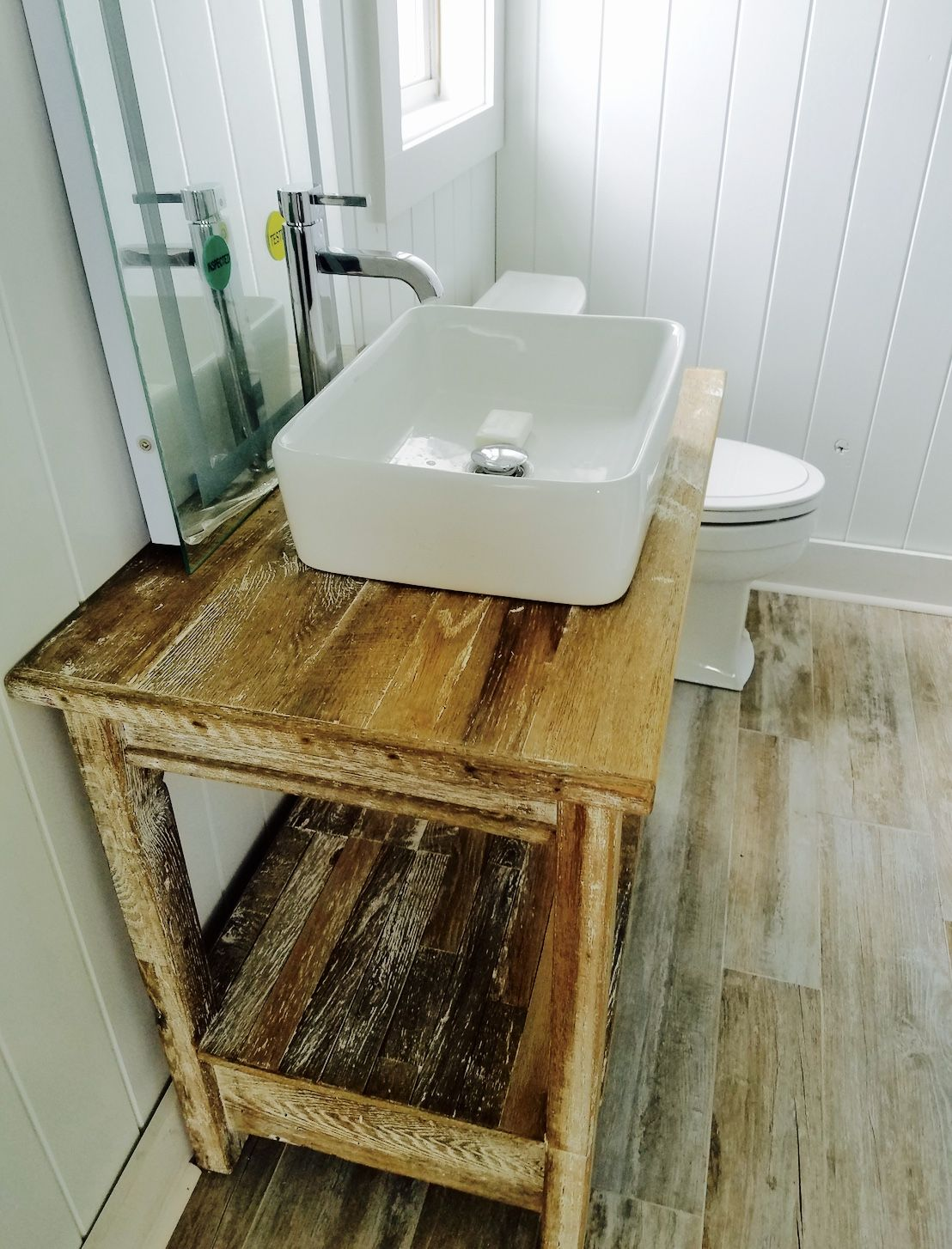 Reclaimed Oak Barn Wood Vanity With White Lime Wash