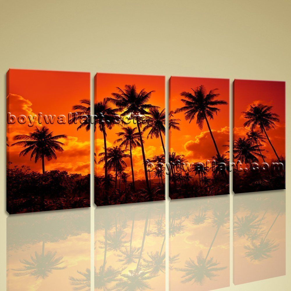 large contemporary wall art home room decor landscape sunset glow