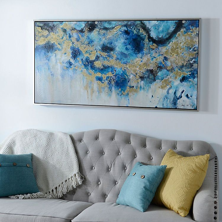 Blue Geode And Marble Framed Canvas Art Print Living Room Canvas Art Marble Art Flower Canvas Art