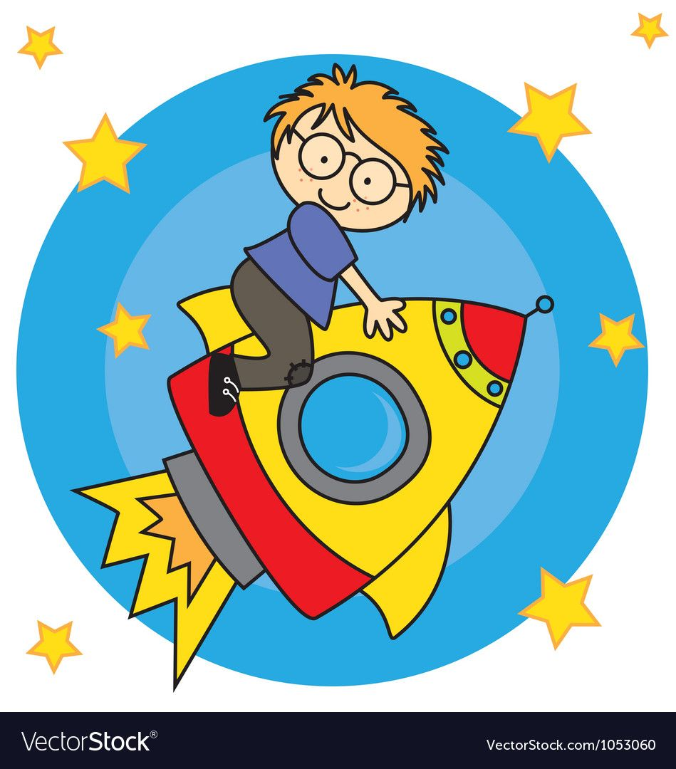 Child flying a spaceship vector image on Coloriage