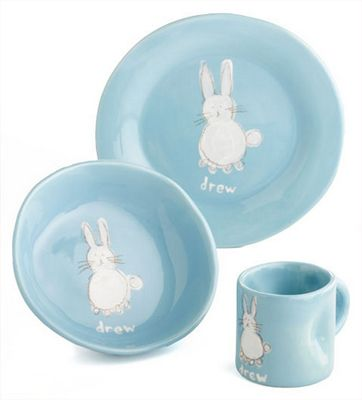 13 of the absolute cutest easter gifts for kids dish sets bunny personalized bunny dish set on cool mom picks negle Choice Image