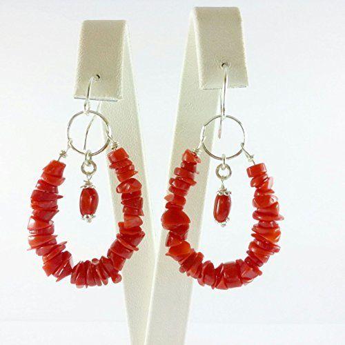 Orecchini goccia corallo rosso e argento 925 fatto a mano, artigianale