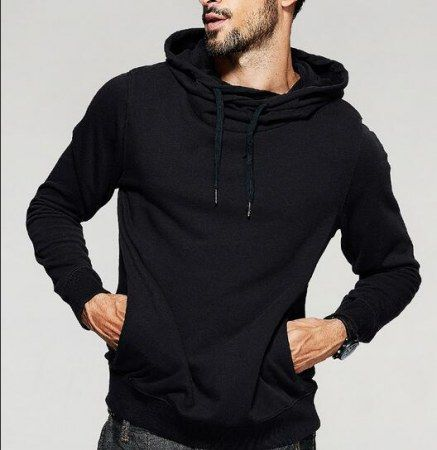 fca2a547a Hip hop plain black hoodie with strings cowl neck sweatshirt for men xxxl