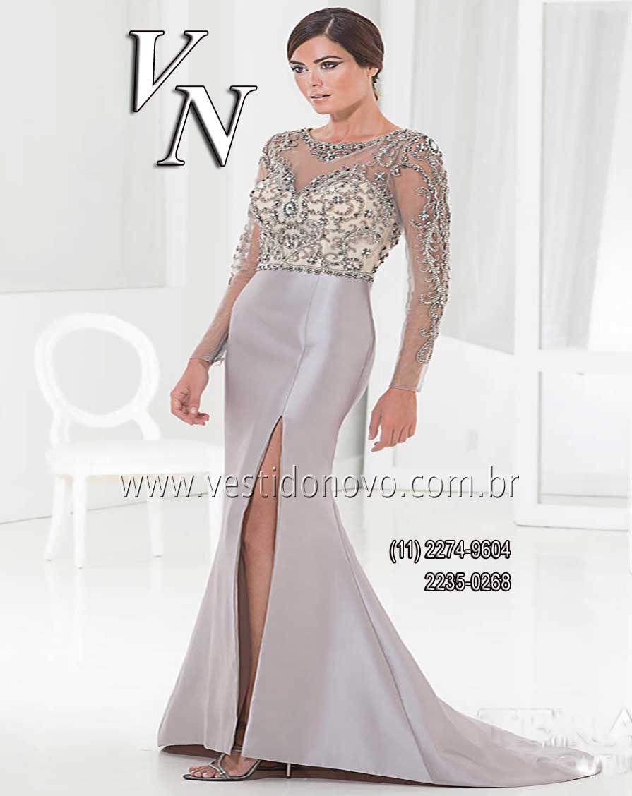 81b2baab8a96 Vestido bodas de prata manga longa, plus size da CASA DO VESTIDO NOVO, fácil