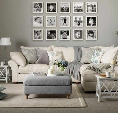 Wandgestaltung Wohnzimmer Neutrale Farben Beige Grau Wandgestaltung Mit Bildern Familienfotos  | Fotopräsentation | Pinterest | Living Rooms, Room And Living ...