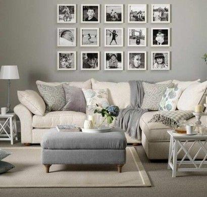 Wandgestaltung Wohnzimmer Neutrale Farben Beige Grau Mit