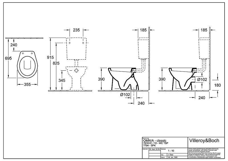 Guest Showerroom: Villeroy & Boch O.novo toilet cistern - MEGABAD