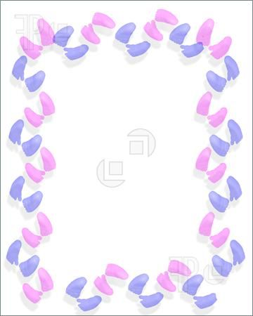 Little Feet Baby Shower | Illustration Of Baby Feet Border Pink And Blue  For Shower Invitation .