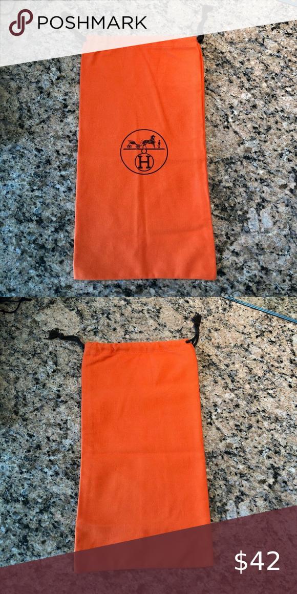 Hermes Logo Drawstring Dust Cover Bag 7 1 2 X 14 Hermes Dust Cover Bags